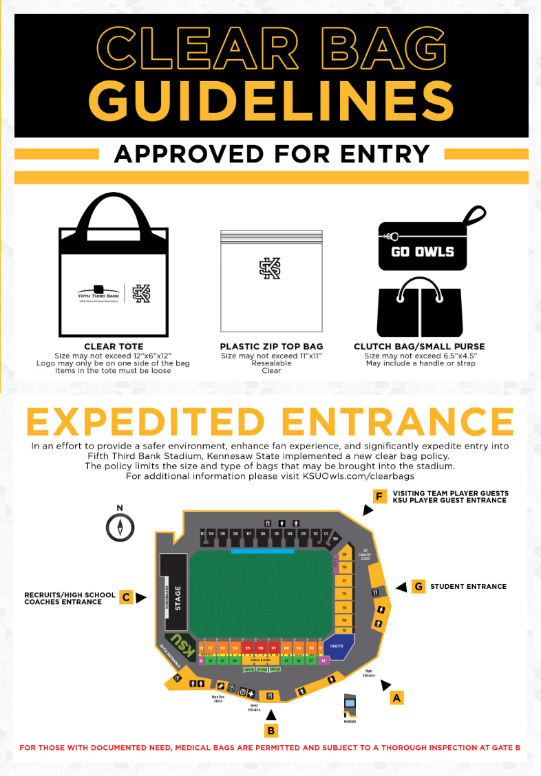 Clear bag policy for Fifth Third Bank Stadium at Kennesaw State University